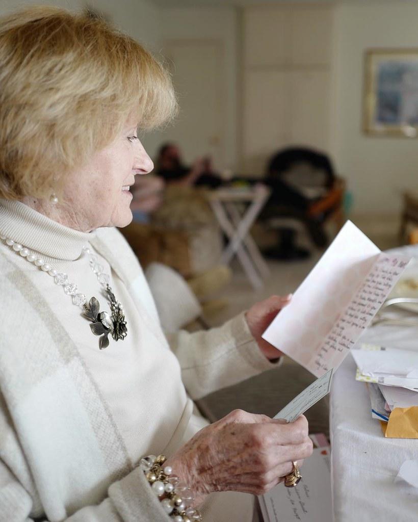 By Gemma E Petrie Grandma Reading Mom Dads 90th Birthday Card