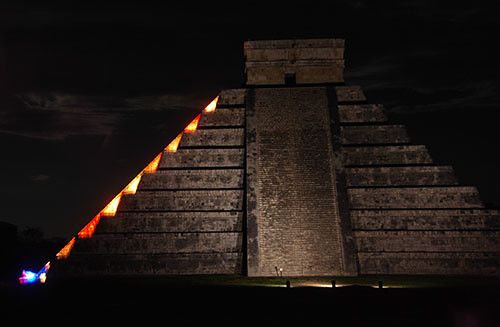 Chichen Itza At Night 01 Snake Crawling Down El Castillo