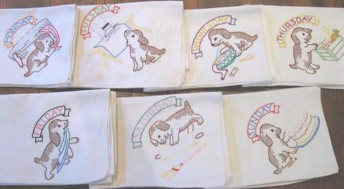 Days of the week ~ vintage embroidered tea towels | Op ...