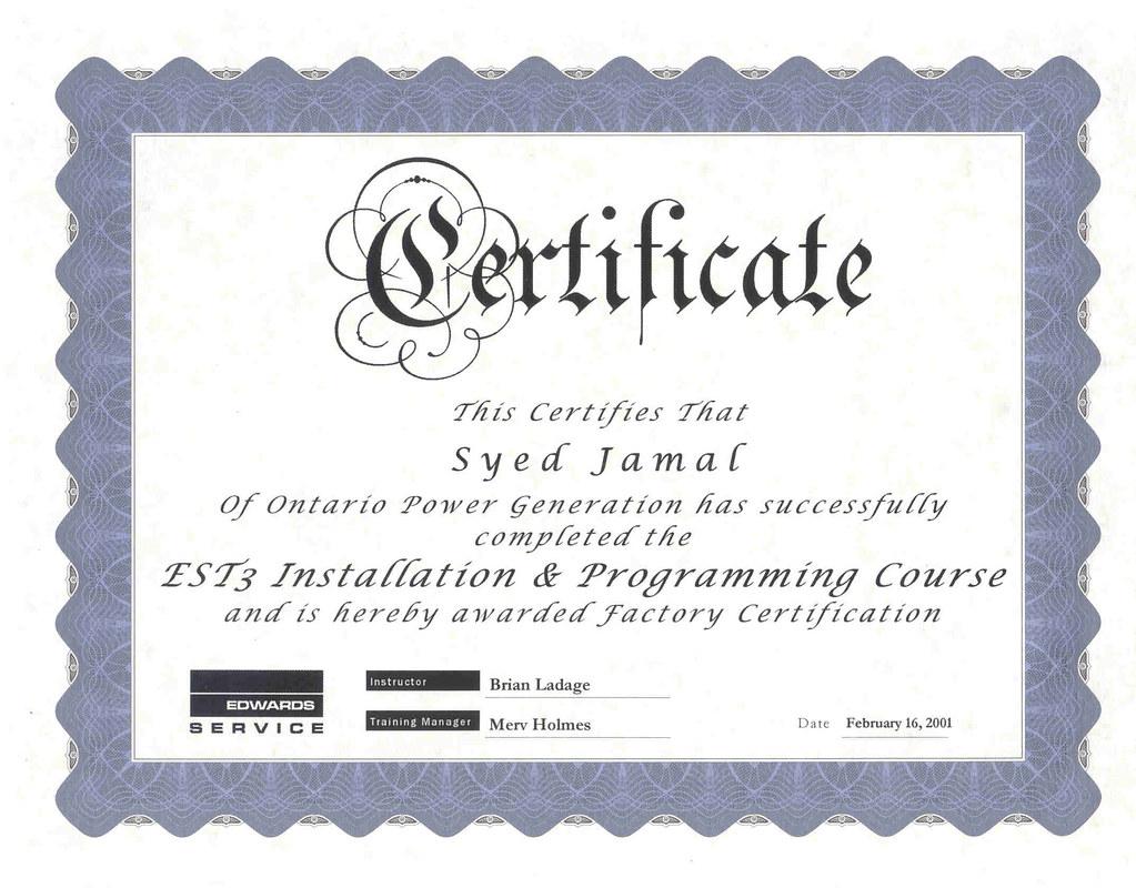 2001-02-16 Advanced Fire Alarm System Prog & Install Certi… | Flickr