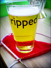 Half of the Ravelry frogged/ripped pint glasses | by By Gum, By Golly