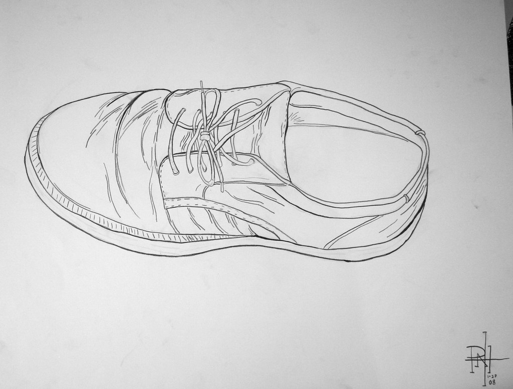 Contour Line Drawing Shoes Lesson Plan : Shoe contour line drawing pencil peter alfred hess