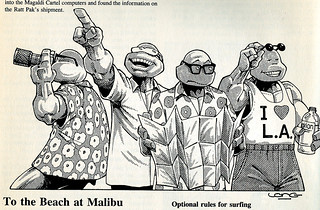 "Palladium Books presents ""Turtles go Hollywood"" by Daniel Greenberg :: To The Beach at Malibu ..art by Kevin Long (( 1990 )) 