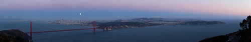 Moon Over the City, Top of Marin Headlands View | by panoramicspot