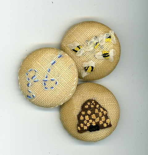 Save the bees button set hand embroidered buttons my
