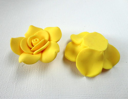 Large lemon yellow polymer clay rose beads for Craft smart polymer clay