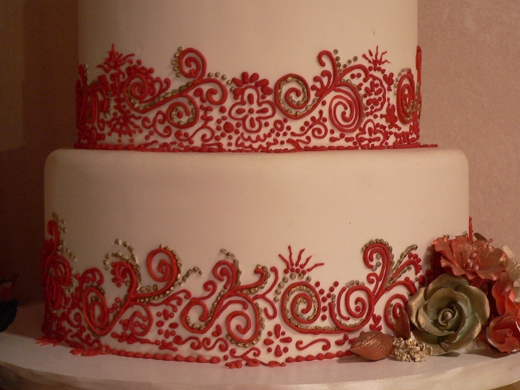 Mehndi Cake Designs : Red white henna cake details mehndi inspired wedding