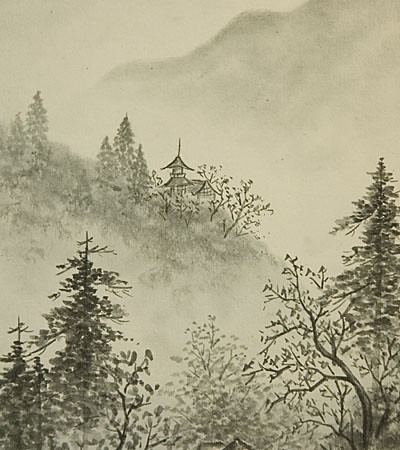 Vintage Japanese Shikishi Art Print - Landscape Sumi-e ...