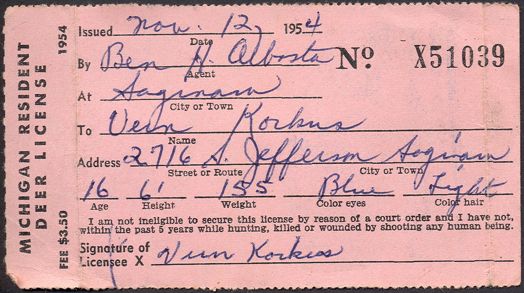 1954 michigan resident deer hunting license don the for Michigan non resident fishing license