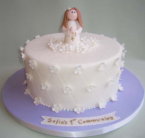 First Communion Cake Images : First Communion Cake White and lavender fondant covered ...