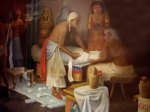 Mural of egyptian mummy preparation at the rosicrucian egy for Egyptian fresco mural painting