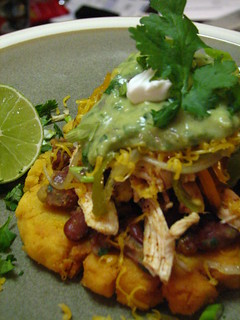 Shredded Chicken Sopes with Spicy Pinto Beans and Tomatillo-Avocado Sauce | by SeppySills
