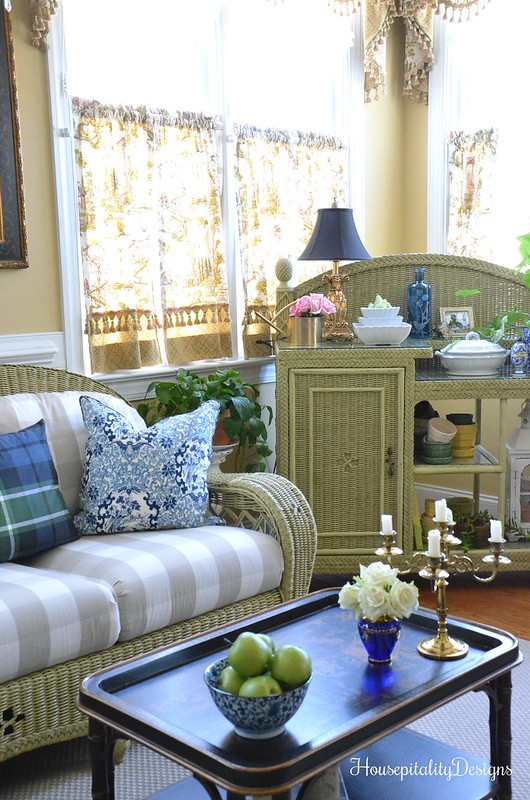 Sunroom-Chinoiserie Table-Wicker-Housepitality Designs