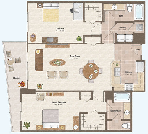 Two bed room condo floor plan 6 one las vegas condo for Condo plans free