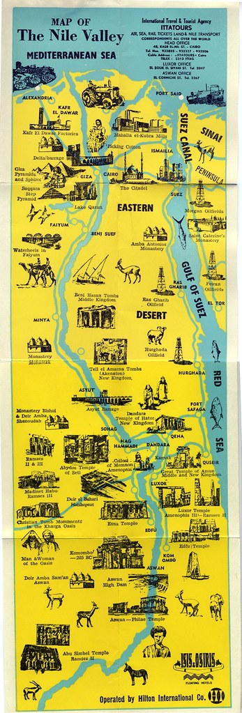 Nile Valley Map Old TWA Nile