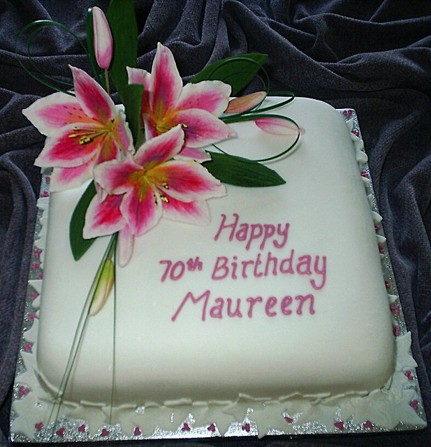 Birthday Cake With Lilies