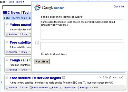 Google Reader: Share with Note | by Tamar Weinberg