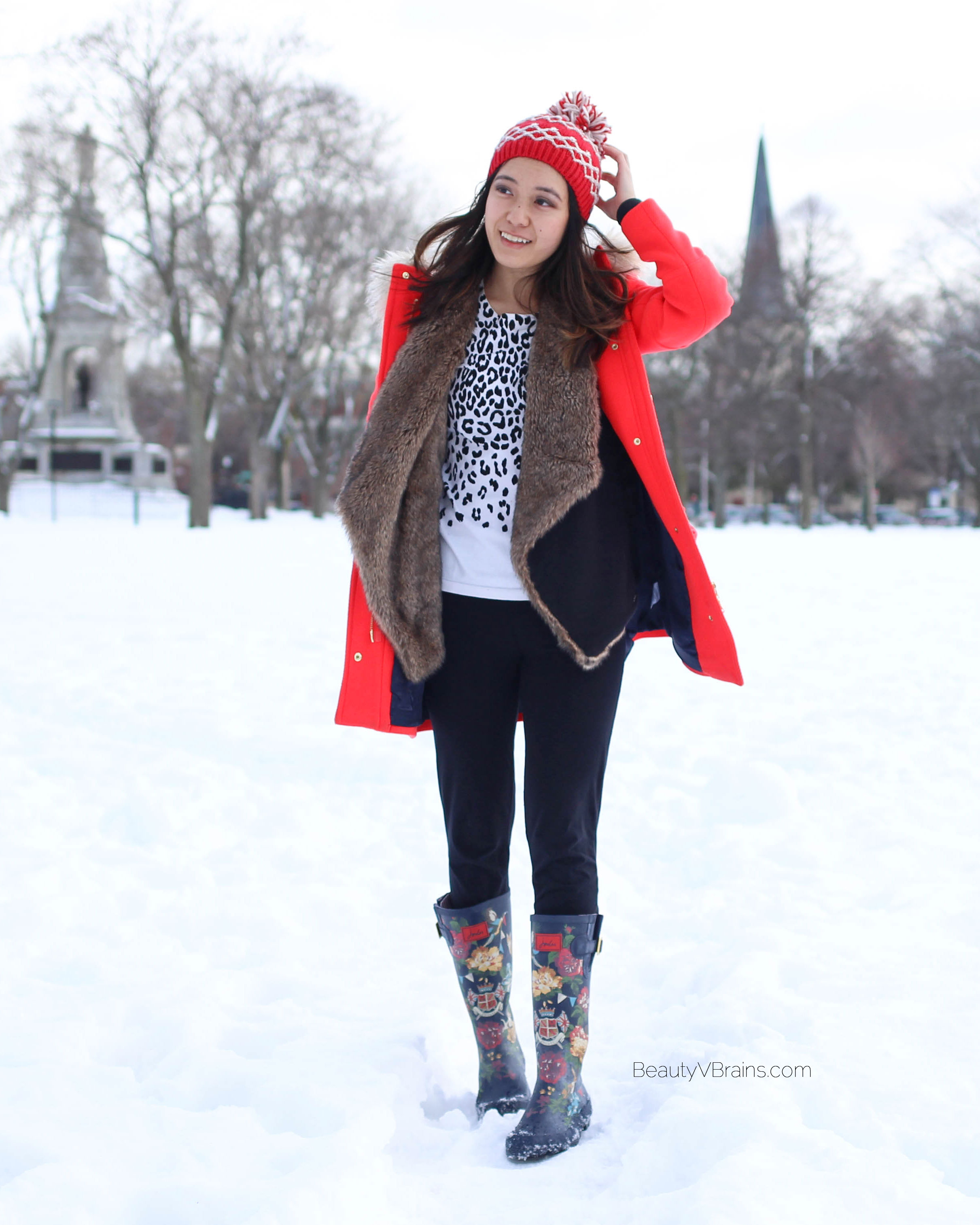White leopard sweater, fur waterfall cardigan, and J Crew chateau parka in stadium cloth