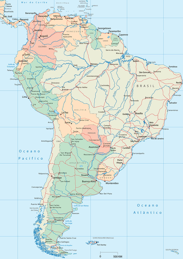 Mapa da América do Sul - mapa de América del Sur - map of South ...