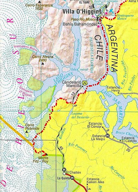 Mapa camino Villa O´Higgins (Chile) hacia El Chaltén (Arge ...