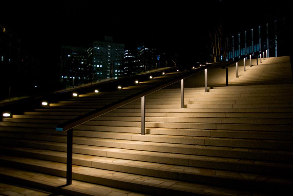 Corner Stair Tower At Night : Night stair think park tower bldg osaki shinagawa ku