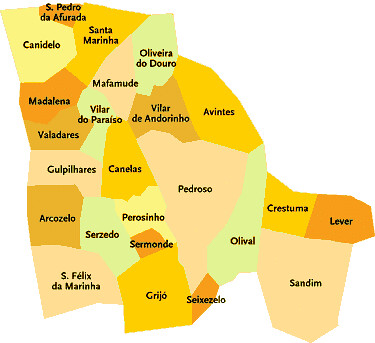 vila nova de gaia mapa Concelho de Vila Nova de Gaia   Portugal | Mapa das freguesi  vila nova de gaia mapa