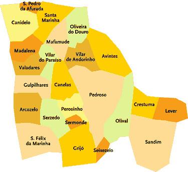 mapa vila nova de gaia Concelho de Vila Nova de Gaia   Portugal | Mapa das freguesi  mapa vila nova de gaia