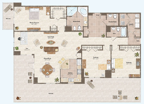 Three bed rooms and den condo floor plan 3 one las vegas for Condo plans free