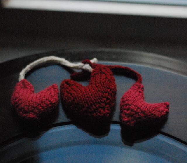 Handknit heart decorations by irieknit
