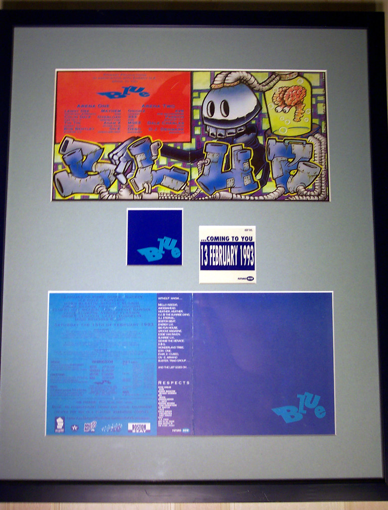 Rave Fliers As Framed Art Blue 1993 Framed And