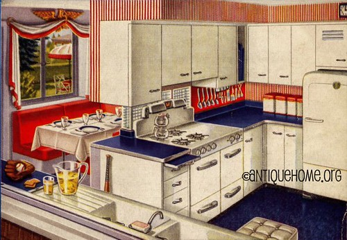 Red, White, and Blue 1950's Kitchen Design  Red, white and