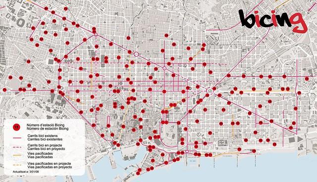 mapa de estaciones bicing | las estaciones bicing de ...