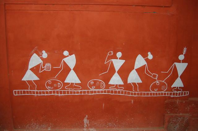 Warli art warli paintings on a wall about the warli people flickr warli art by kaushik warli art by kaushik thecheapjerseys Gallery