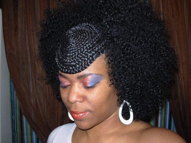 Natural Curly Wig With Braided Design