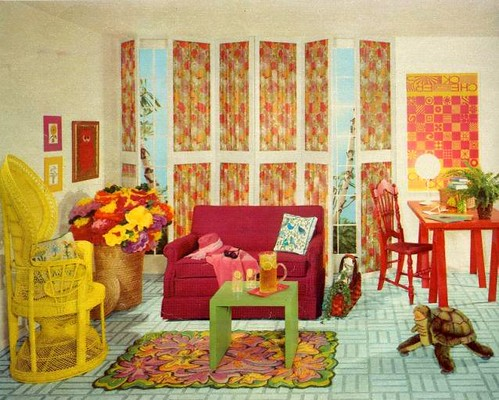60 39 s living room in yellow from seventeen october 1967 for Furniture 60s style