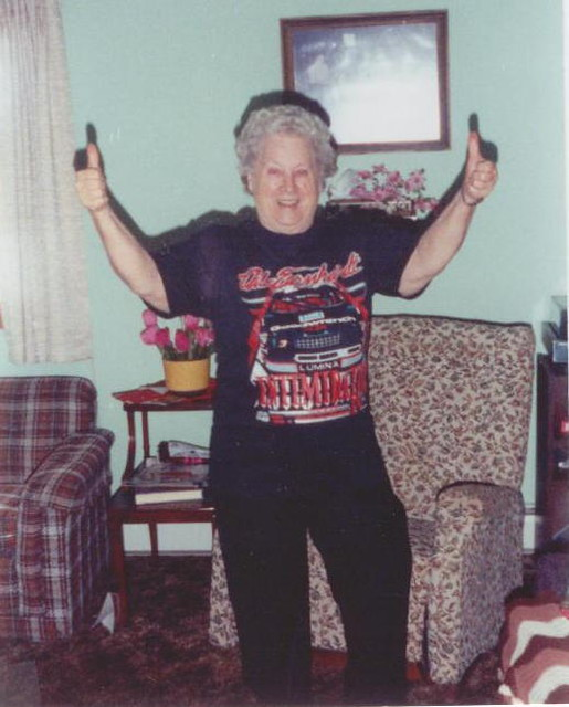 Grandma Rosie in an Earnhardt frenzy, 1992.