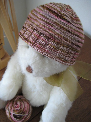 Baby hat on bear | by Twisted Knitter
