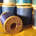 Spools of vintage thread:blues