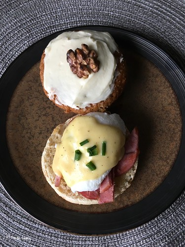 Eggs Benedict and Banana Muffin
