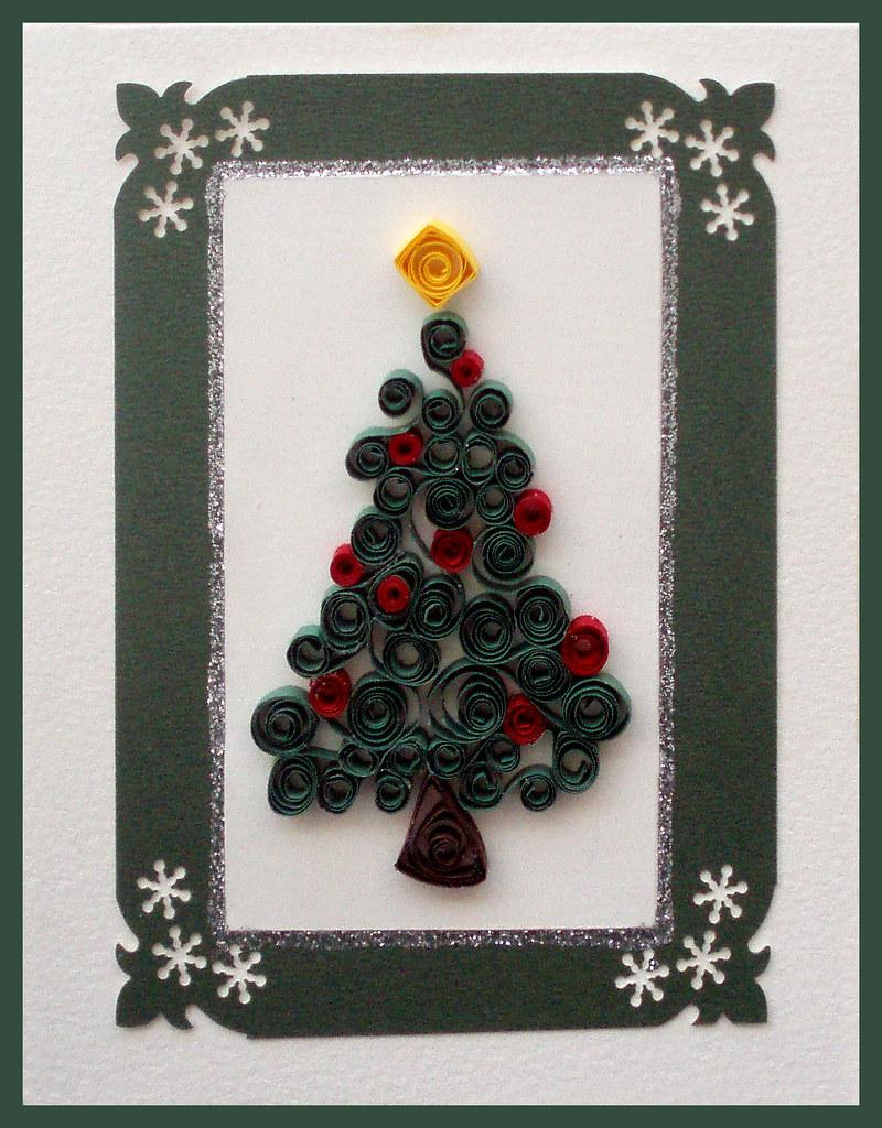 Handmade christmas card handmade quilling christmas tree for Christmas cards made