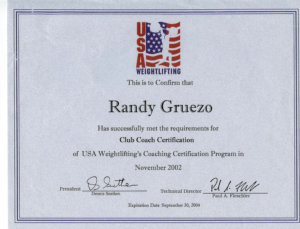 Randy Gruezo Usa Weightlifting Club Coach Certificate Flickr
