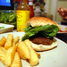 Lamb Kofta Burger and Chips