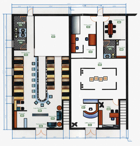 Auto cad floor plan hado japanese restaurant and gallery