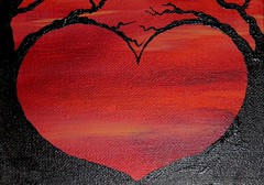 scarlet heart small acrylic painting on canvas inspired flickr