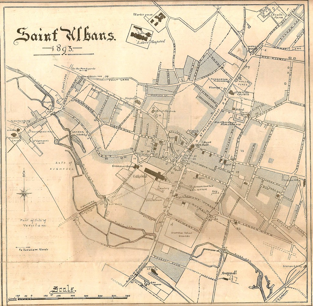 1893 map of St Albans by Charles H Ashdown Key to numbers Flickr