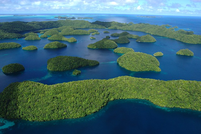 aerial photo of small forested islands