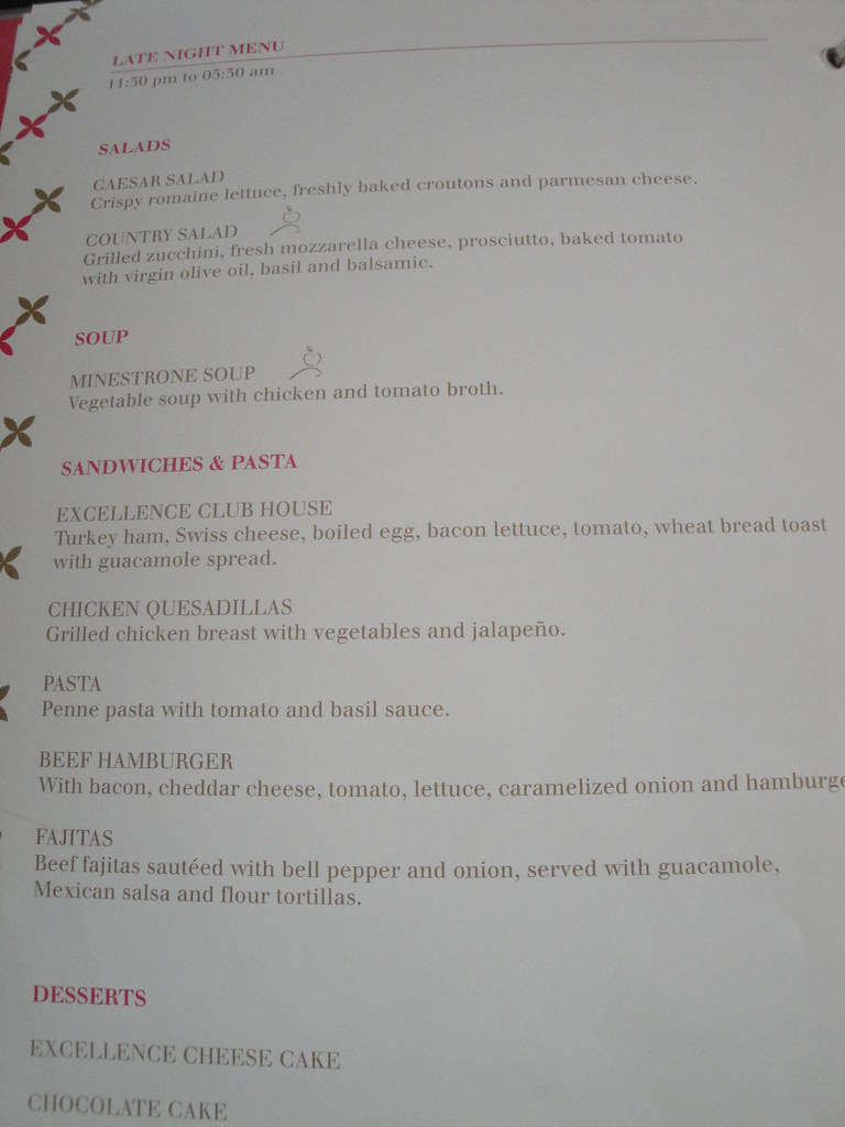 Excellence Playa Mujeres Room Service Menu