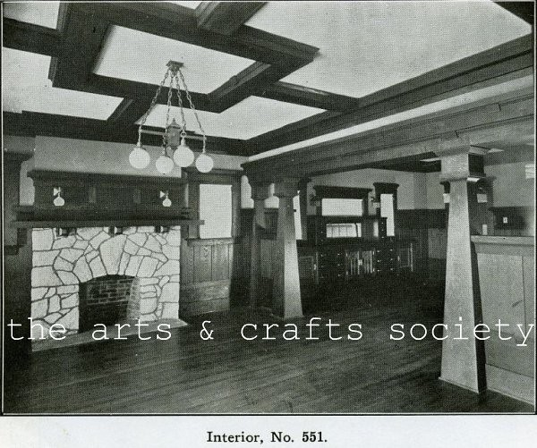 Arts and crafts bungalow interior 1910 living room dinin - Arts and crafts bungalow interiors ...