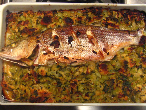 Baked Bass with Thanksgiving Stuffing | by michaelpremo