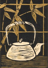 Tea Kettle Linocut (tan) | by Veronika Nagy